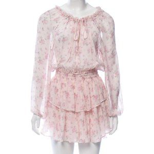 Loveshackfancy popover pink charm Silk dress M